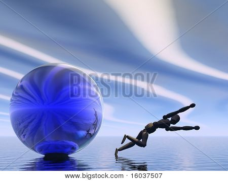 A manikin leaps from a sphere into water