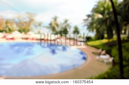 Abstract blur outdoor swimming pool for background
