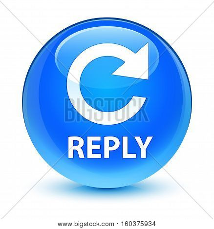 Reply (rotate Arrow Icon) Glassy Cyan Blue Round Button