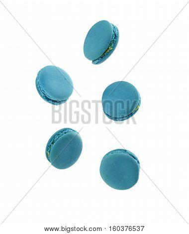 The original blue macarons. Isolated on white background