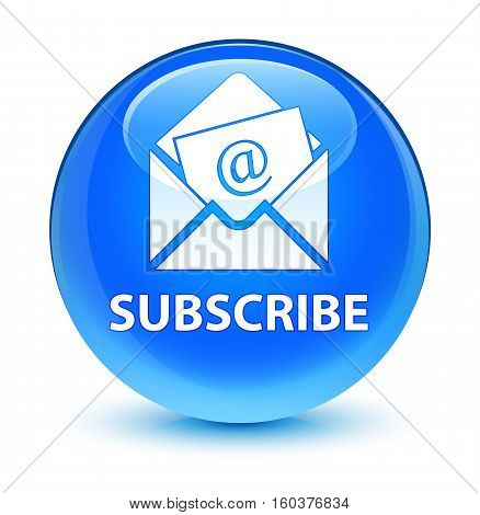 Subscribe (newsletter Email Icon) Glassy Cyan Blue Round Button