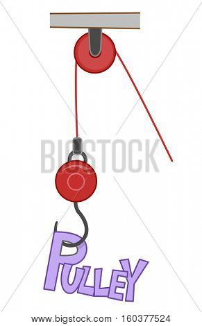 Typography Illustration Featuring the Word Pulley Attached to a Hook Moved by a Cord