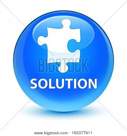 Solution (puzzle Icon) Glassy Cyan Blue Round Button