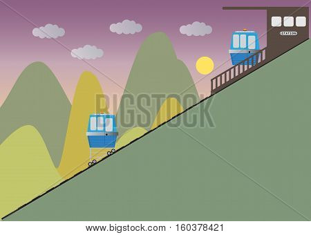 Funicular or cliff rail way and Station with hill background Vector Illustration