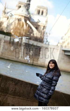 Happy Brunette Girl At Parisian Embankment, Sea-gulls Flying In The Background