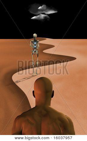 Deathlike figure walks toward a figure in the desert
