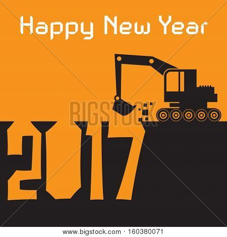 Happy New Year greeting card - Excavator digger at work vector illustration
