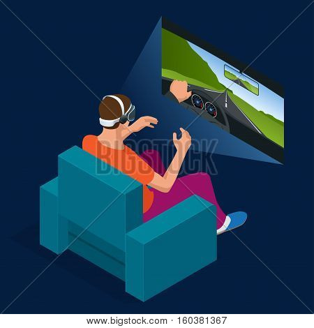 Young man is playing racing video game in 3D virtual reality simulator using headset. Flat 3d isometric illustration. Driving car in virtual reality. Glass and gaming cyber application innovation.