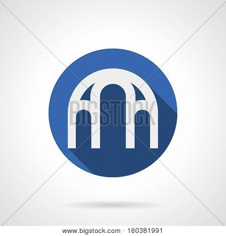 White silhouette of triple semicircular arch with long shadow. Architectural complex structure for interior decoration, exterior of buildings. Round blue flat design vector icon.