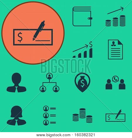 Set Of 12 Human Resources Icons. Can Be Used For Web, Mobile, UI And Infographic Design. Includes Elements Such As Applicants, Conference, Bank And More.