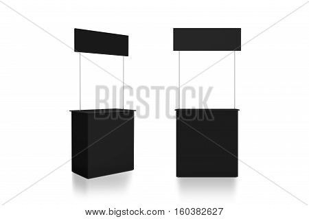 Blank black promo counter mockup stand front and side view 3d rendering. Grey promotional pop up exhibition mock up. Dark store portable desk template. Trade kiosk presentation.