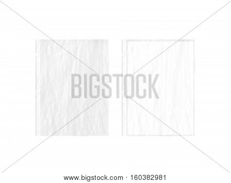 Empty crumpled document protector and blank white A4 paper sheet mockup in transparent plastic sleeve 3d rendering. Translucent business form pocket mock up. Plain worksheet envelope.