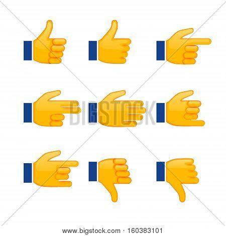 Set Of Hands Emoji, Signs And Symbols