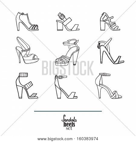 Lovely set with stylish fashion shoes hand drawn and isolated on white background. Vector illustration showing various stiletto high heels sandals. Creative collection in black and white.
