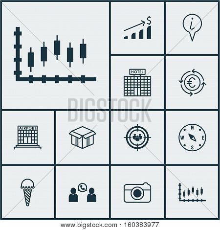 Set Of 12 Universal Editable Icons. Can Be Used For Web, Mobile And App Design. Includes Elements Such As Open Cardboard, Info Pointer, Focus Group And More.