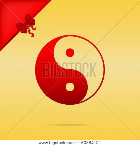 Ying Yang Symbol Of Harmony And Balance. Cristmas Design Red Ico