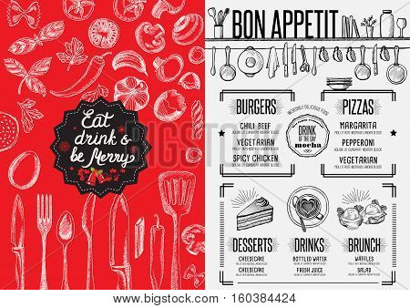 Christmas restaurant brochure, menu template. Vector holiday background and design banner.