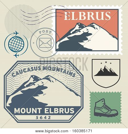 Post stamp set with the Mount Elbrus highest mountain in Russia and in Europe Adventure outdoor Expedition mountain vector illustration