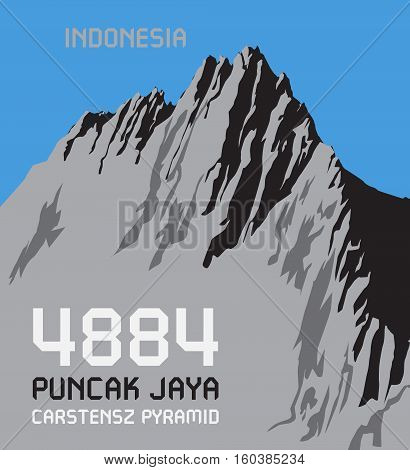 Puncak Jaya is the highest mountain in Indonesia the highest on the island of New Guinea. Adventure outdoor Expedition mountain vector illustration