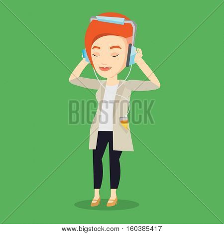Caucasian woman listening to music on her smartphone. Young woman in headphones listening to music. Relaxed woman with eyes closed enjoying music. Vector flat design illustration. Square layout.