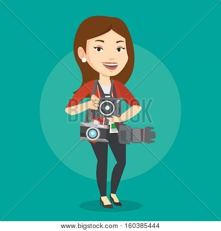 Cheerful paparazzi with many cameras. Young caucasian female photographer with many photo cameras equipment. Professional journalist with many cameras. Vector flat design illustration. Square layout.