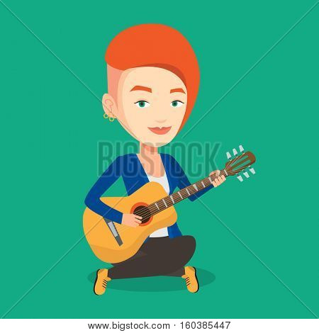 Friendly musician sitting with guitar in hands. Caucasian musician playing an acoustic guitar. Young female guitarist practicing in playing guitar. Vector flat design illustration. Square layout.