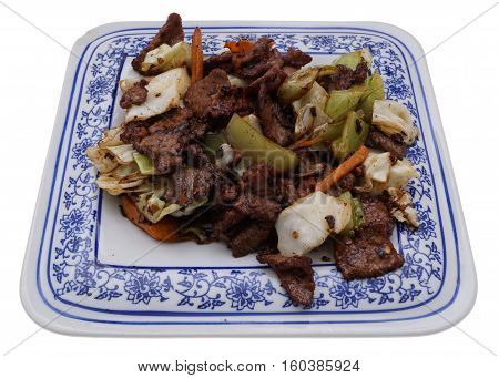 Chinese Food. Hot Veal With Vegetables