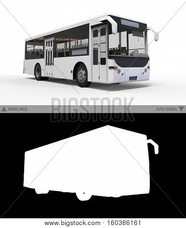 Small urban white bus on a white background with separate alpha channel. 3d rendering