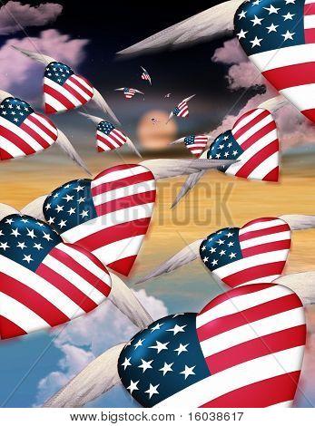 Winged USA hearts in flight