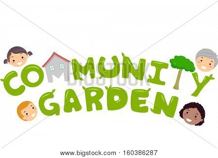 Typography Illustration Featuring the Phrase Community Garden Surrounded by Village Residents