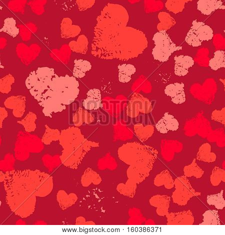 Grunge Valentine background. Painted Hearts Seamless Pattern. Distress texture ornament. Romantic decoration for gift paper, greeting card, banner, wallpaper. Irregular decorative design.