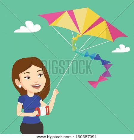 Young caucasian woman flying a colourful kite. Caucasian woman controlling a kite. Happy woman walking with kite. Vector flat design illustration. Square layout.