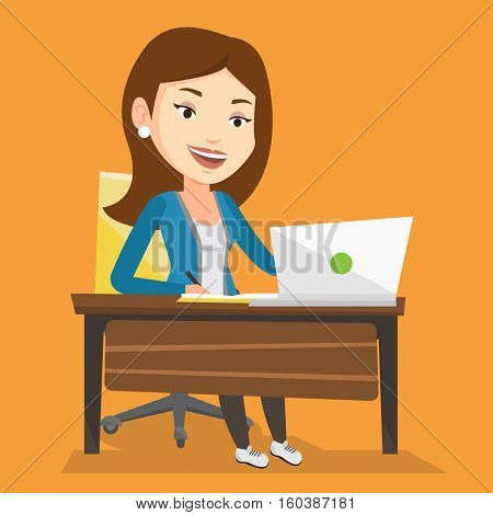 Student sitting at the table with laptop. Student using laptop for education. Woman working on laptop and writing notes. Educational technology concept. Vector flat design illustration. Square layout.
