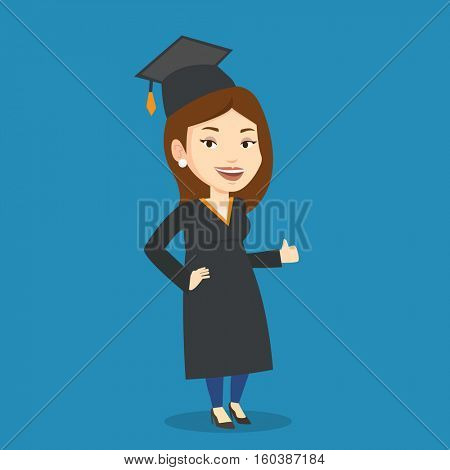 Happy female graduate in cloak and graduation cap. Caucasian female graduate giving thumb up. Joyful female graduate celebrating. Concept of education. Vector flat design illustration. Square layout.