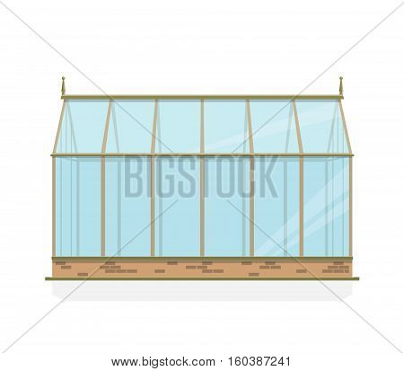 Greenhouse with glass walls, foundations and gable roof, side view. Horticultural Conservatory for growing vegetables and flowers. Classic cultivate greenhouse gardening. Year-round growing object.