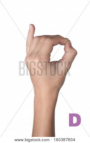 gesture alphabet. Letter D made by fingers isolated on white background