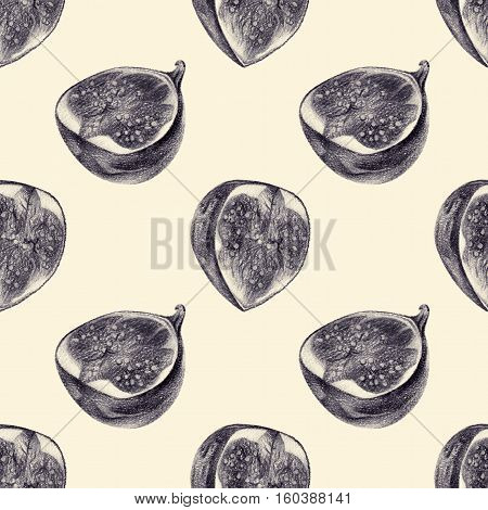 Seamless pattern with cut figs drawn by hand with pencil. Healthy vegan food. Fresh tasty fruits and berries painted from nature