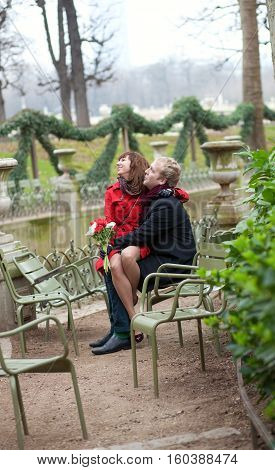 Romantic Couple Having A Date In The Luxembourg Garden