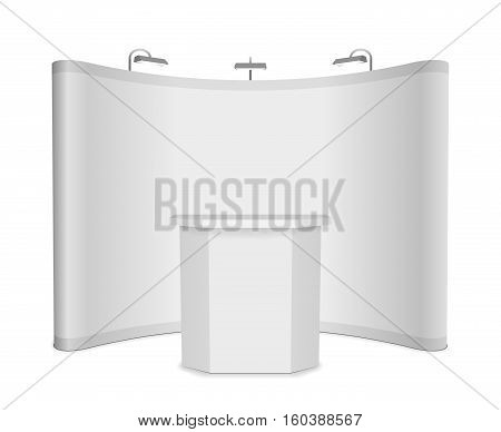 Blank exhibition stand with banner and table on white background. Template mockup for press conference. Vector illustration