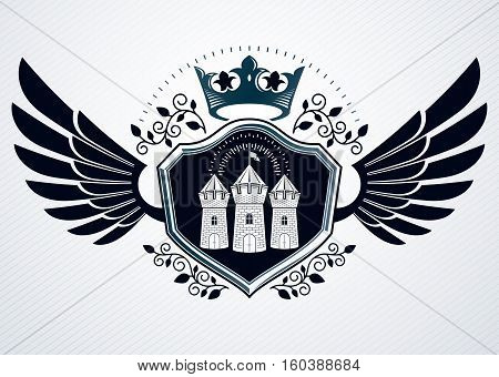 Vintage Heraldry Design Template, Vector Emblem Created Using Eagle Wings, Medieval Stronghold And I