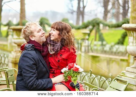 Couple In A Park At Spring, Dating