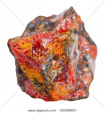 Crystals Of Red Realgar On Rock Isolated