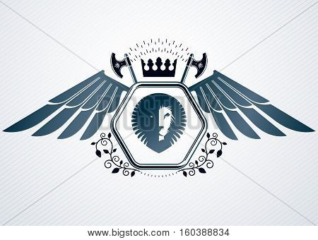 Vintage Decorative Heraldic Vector Emblem Composed With Eagle Wings, Wild Lion Illustration And Roya