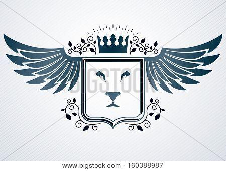 Vintage Heraldry Design Template, Vector Emblem Created Using Eagle Wings, Wild Lion Illustration An