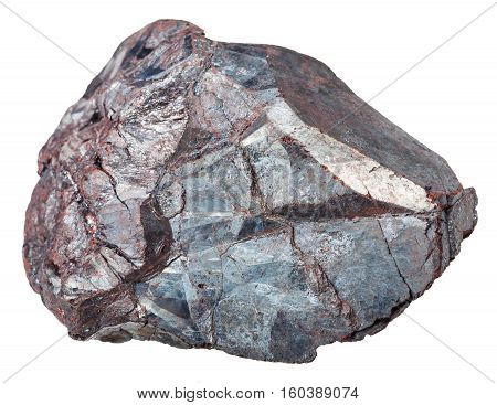 macro shooting of specimen of natural mineral - piece of Hematite (iron ore haematite) rock isolated on white background poster