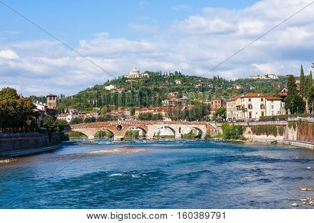 Ponte Pietra Bridge On Adige River In Verona