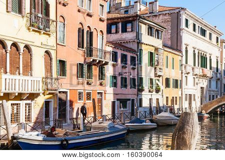 Canal And Houses In Cannaregio Sestieri In Venice