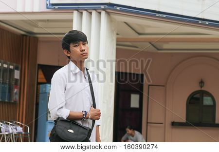 Portrait of handsome young man tourism .