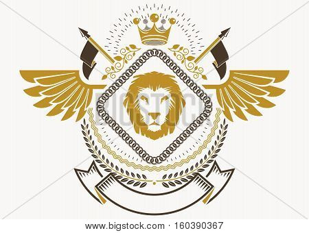 Heraldic Coat Of Arms Decorative Emblem With Bird Wings, Vector Illustration Of Royal Crown And Chri