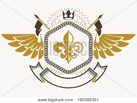 Vector Vintage Heraldic Coat Of Arms Created In Award Design And Decorated Using Bird Wings And Impe